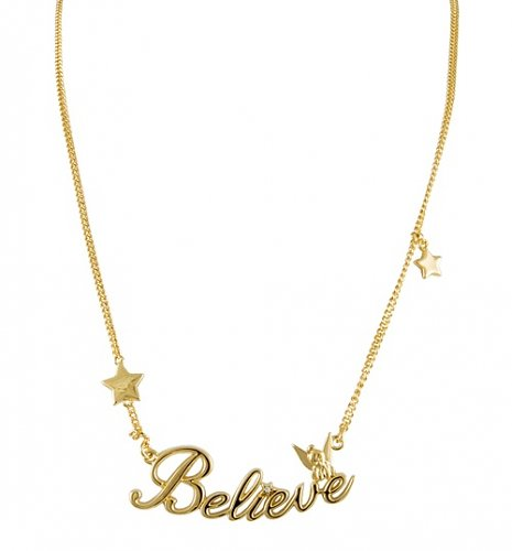 Gold Plated Believe Tinker Bell Necklace from Disney Couture : Main