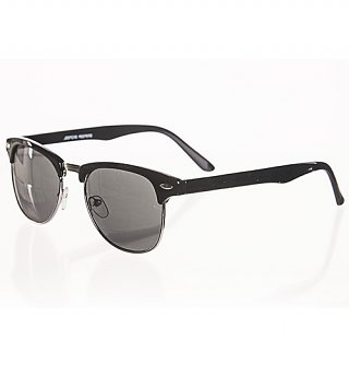 Black Retro Buddy Half Frame Wayfarer Sunglasses from Jeepers Peepers