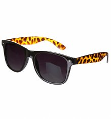 Black Wayfarer Sunglasses With Tortoiseshell Arms