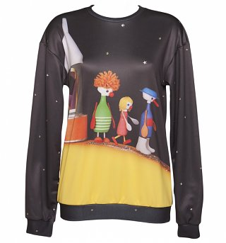 Unisex Button Moon All Over Print Scene Sweater