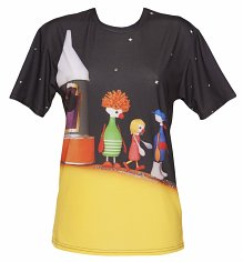 Unisex Button Moon All Over Print Scene T-Shirt
