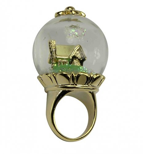 14k Gold Plated Snow White Snow Globe Ring from Disney Couture : Main