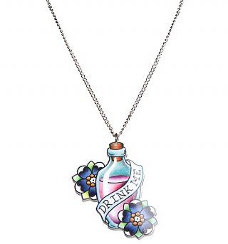 Drink Me Wonderland Tattoo Necklace from Punky Pins