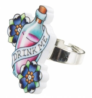 Drink Me Wonderland Tattoo Ring from Punky Pins