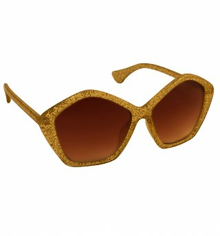 Gold Glitter Star Oversized Sunglasses from Jeepers Peepers