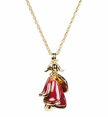 Gold Plated Red Enamel Rose Beauty And The Beast Necklace from Disney Couture