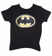Kids Black Batman Logo T-Shirt
