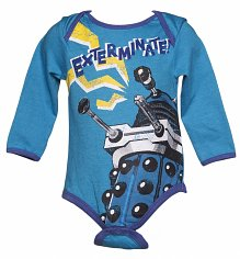 Kids Blue Marl Exterminate Dalek Doctor Who Babygrow from Fabric Flavours
