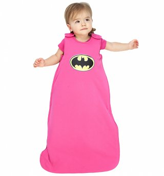 Kids Pink Batman Logo Baby Sleeping Bag