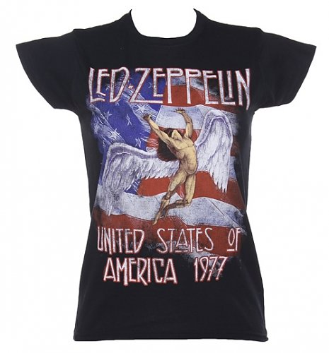 Ladies Black Led Zeppelin Stars And Stripes 1977 T-Shirt : Main