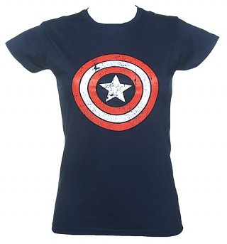 Ladies Blue Captain America Distressed Shield Marvel T-Shirt