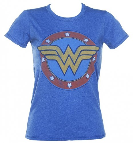 Ladies Blue Distressed Wonder Woman Logo T-Shirt from Junk Food : Main