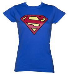 Ladies Blue Superman Logo T-Shirt
