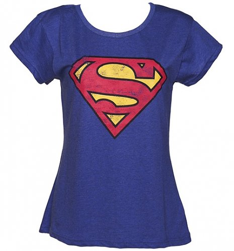 Ladies Blue Wash Scoop Neck Superman Logo T-Shirt from Fabric Flavours : Main