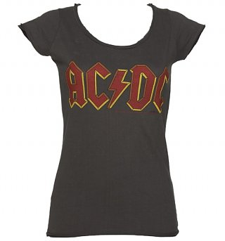 Ladies Charcoal AC/DC Logo T-Shirt from Amplified
