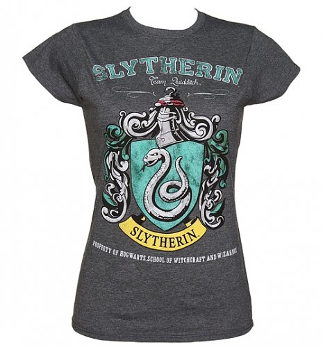 Ladies Charcoal Harry Potter Slytherin Team Quidditch T-Shirt : Main