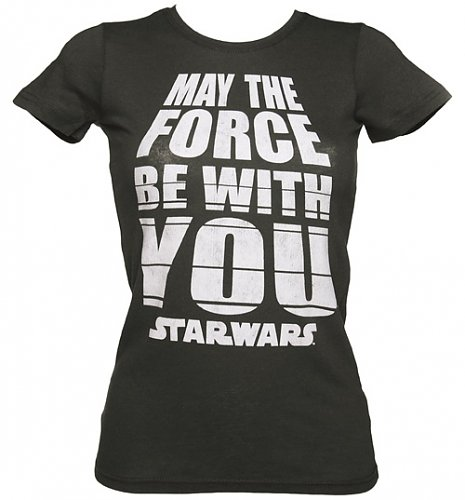 Ladies Charcoal Star Wars May The Force Be With You T-Shirt from Mighty Fine : Main