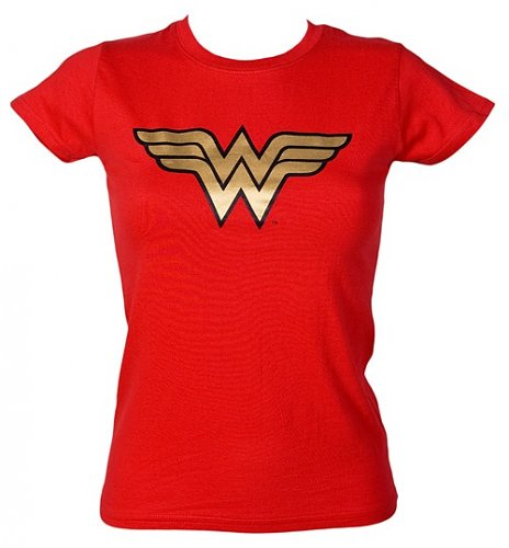 Ladies Wonder Woman Gold Foil Logo T-Shirt from Urban Species : Main
