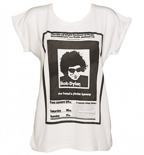 Ladies Ecru Boyfriend Fit Bob Dylan Poster Print T-Shirt from Worn By : Main