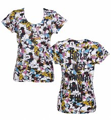Ladies Girls Just Wanna Have Fun Minnie Mouse And Daisy Duck All Over Print Disney T-Shirt from Eleven Paris