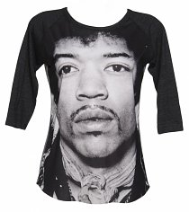 Women's Grey And Black Jimi Hendrix Photographic Baseball T-Shirt from Dirty Cotton Scoundrels