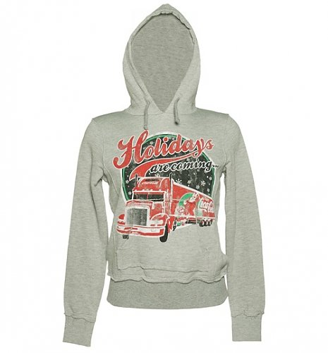 Ladies Grey Coca Cola Holidays Are Coming Truck Hoodie : Main