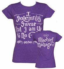 Ladies Purple Harry Potter I Solemnly Swear Mischief Managed T-Shirt