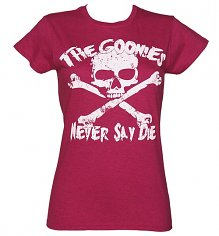 Women's Heather Pink Goonies Never Say Die T-Shirt