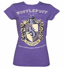 Ladies Heather Purple Harry Potter Hufflepuff Team Quidditch T-Shirt