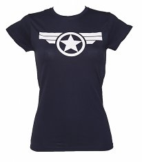 Ladies Navy Steve Rogers Super Soldier Captain America Uniform Marvel T-Shirt
