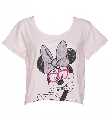 Ladies Oversized Cropped Minnie Mouse Floral T-Shirt : Main