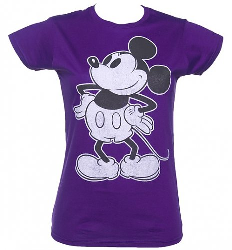 Ladies Purple Mickey Mouse Silhouette T-Shirt : Main
