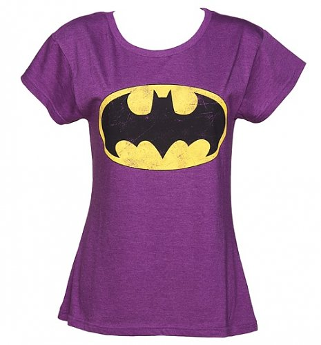 Ladies Purple Scoop Neck Batman T-Shirt from Fabric Flavours : Main