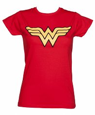 Ladies Red Wonder Woman Logo T-Shirt