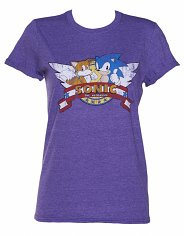 Women's Sonic and Tails Title Screen Rolled Sleeve Boyfriend T-Shirt