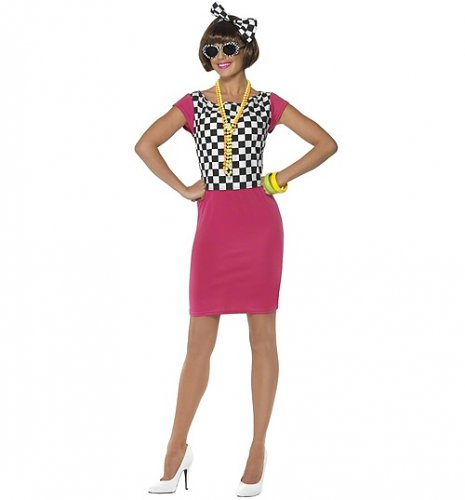 Ladies Two Tone 80's Ska Girl Fancy Dress Costume : Main