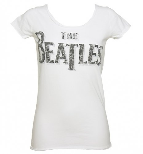 Ladies White Beatles Logo Slim Fit T-Shirt from Amplified Vintage : Main