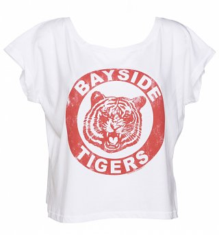 Ladies White Saved By The Bell Bayside Tigers Oversized Cropped Scoop T-Shirt
