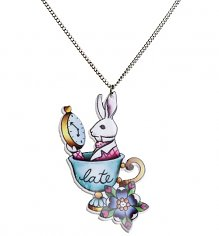 Late Rabbit Wonderland Tattoo Necklace from Punky Pins