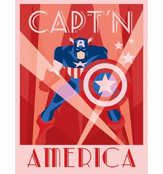 Marvel Comics Captain America Deco Canvas Print 30 x 40cm