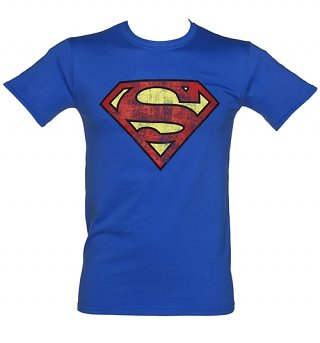 Men's Blue Distressed Superman Logo T-Shirt