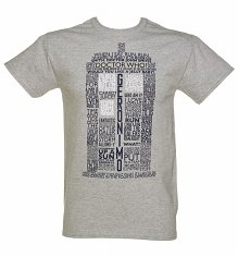 Men's Grey Marl Doctor Who TARDIS Quotes T-Shirt
