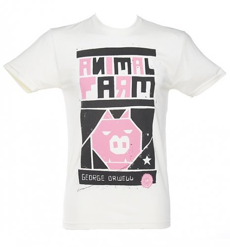 Men's White George Orwell Animal Farm Novel T-Shirt from Out Of Print : Main