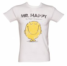 Men's White Mr Happy Mr Men T-Shirt