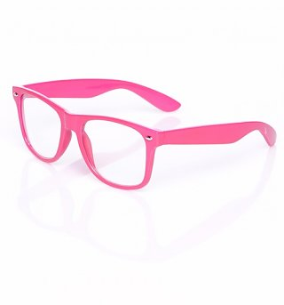 Neon Pink Clear Geek Wayfarer Sunglasses