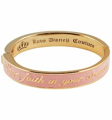 Gold Plated Pink Enamel Have Faith In Your Dreams Cinderella Bangle from Disney Couture