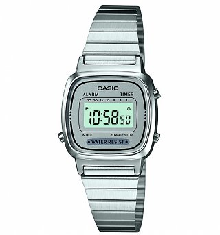 Retro Silver Slimline Watch LA670WEA-7EF from Casio