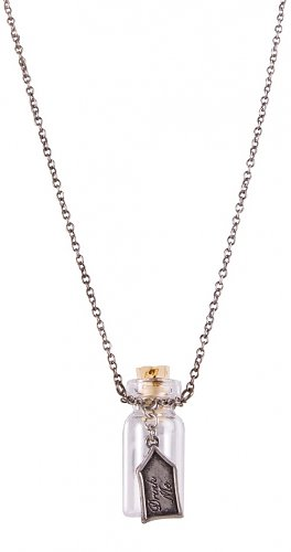 Silver Plated Alice in Wonderland 'Drink Me' Glass Bottle Necklace from Disney Couture : Main