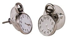 Silver Plated Alice in Wonderland Pocket Watch Stud Earrings from Disney Couture