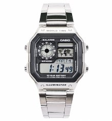 Silver World Time Classic Watch AE-1200WHD-1AVEF from Casio